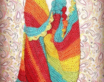 Rainbow Baby Blanket with ruffled edge
