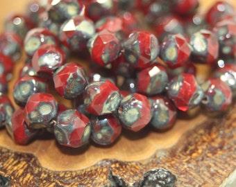 Czech Glass Bead, 8mm Central Cuts, 15 Beads