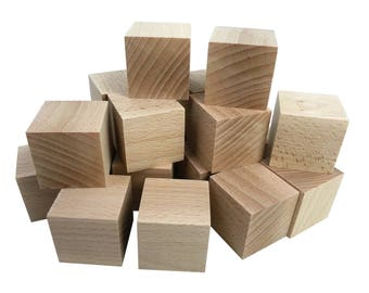 4 x 4 cm - 18 pcs wooden Cubes - unfinished wood - craft DIY