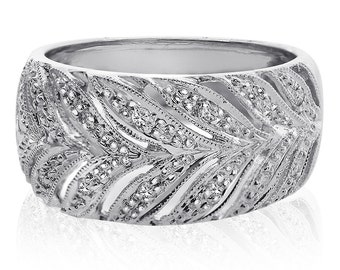 0.15 Carat Round Cut Pave Setting Vine Rows Diamond Ring 14K White Gold