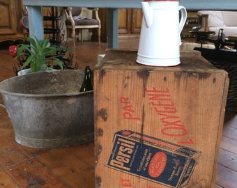 French vintage wooden crate