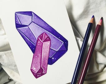 Original Hand-Painted Postcards // CRYSTALS