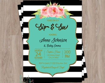Sip and See invitation girl, sip & see invitation, sip n see invitations, sip and see invite, black, gold glitter, pink floral, printable