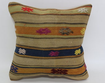 Superb Throw Pillow Ethnic Pillow Sofa Pillow Home Decor Kilim Pillow 16x16  Naturel Handwoven Kilim Pillow Throw