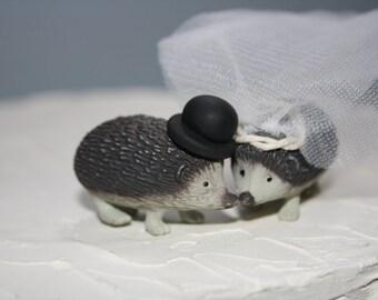 Hedgehog Cake Topper - Wedding Decoration - Wedding Cake Decor - Hedgehog Bride and Groom - Rustic Wedding Decor