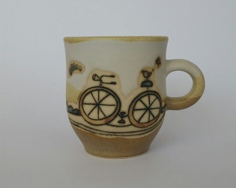 Bicycle ceramic mug, bicycle handmade cup, stoneware ceramic mug, pottery mug, coffee  ceramic mug, tea ceramic cup, bicycle pottery cup