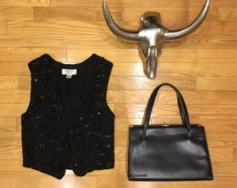 Black Sequin cropped Vest/Top