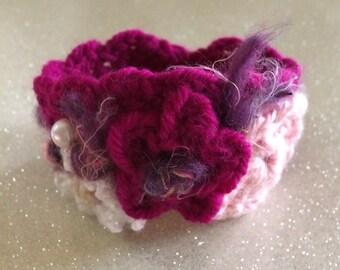 Crochet raspberry and flower cuff bracelet