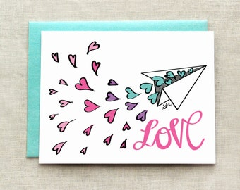 Spread the Love Card, Colorful Love Card, Simple Love Card, Valentine's Card