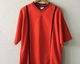 1990's Nike Vintage Nike Red and Navy Jersey Made in the USA