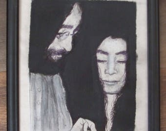 Original framed ink and charcoal drawing of John Lennon and Yoko Ono