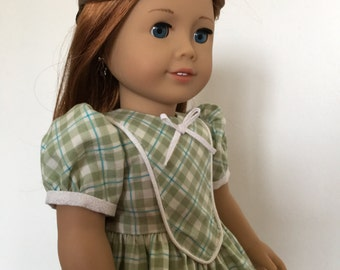Green Plaid Dress fits American Girl Dolls