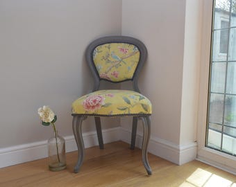 Vintage Balloon Back chair with beautiful Sanderson fabric