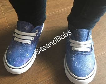 New Customised Galaxy Vans Infant Hand Painted Galaxy Sneakers