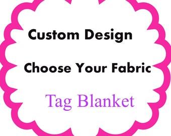 Minky Tag Blanket ~ Sensory Blanket ~ Tag Blanket ~ Lovey ~ Minky Cuddle blanket