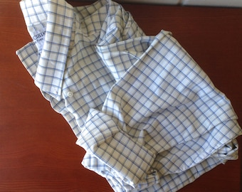 Vintage blue & white check button-down shirt / Oxford button-up flannel blouse long sleeve