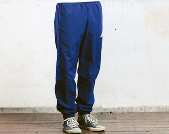Blue Adidas Pants . Vintage Adidas Shellsuit Pants Mens Training Pants Blue Sports Pants Vintage Track Pants Mens Jogging Pants . size Small