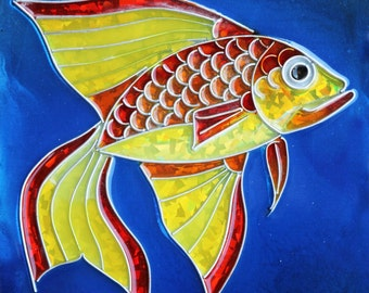 Resin and mixed media, Cold cloisonnee fish Jared rr 74 8x8 inches yellow red gold