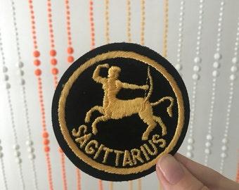 SAGITTARIUS Black and Gold Horoscope Circle Patch
