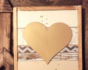 "Heart Wood Sign - ""Monica"" Heart Reclaimed Wood Wall Hanging"