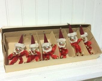 Vintage Chenille and Mercury Glass Santa Ornaments in Original Box