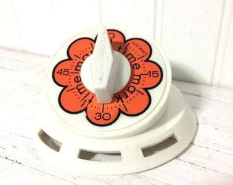 Vintage 1960's Flower Power Orange Kitchen Timer