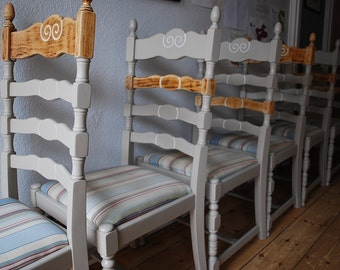 SOLD * Kitchen dining chairs, set of 6, made to order, bespoke hand painted furniture, exposed wood, painted