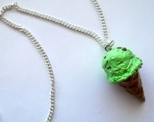 Mint Chocolate Chip Ice Cream Cone Necklace