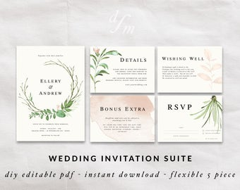 Floral wreath invitation, DIY wedding invitation templates, Green Watercolor design, Watercolor wreath, Calligraphy invites, Pink flowers