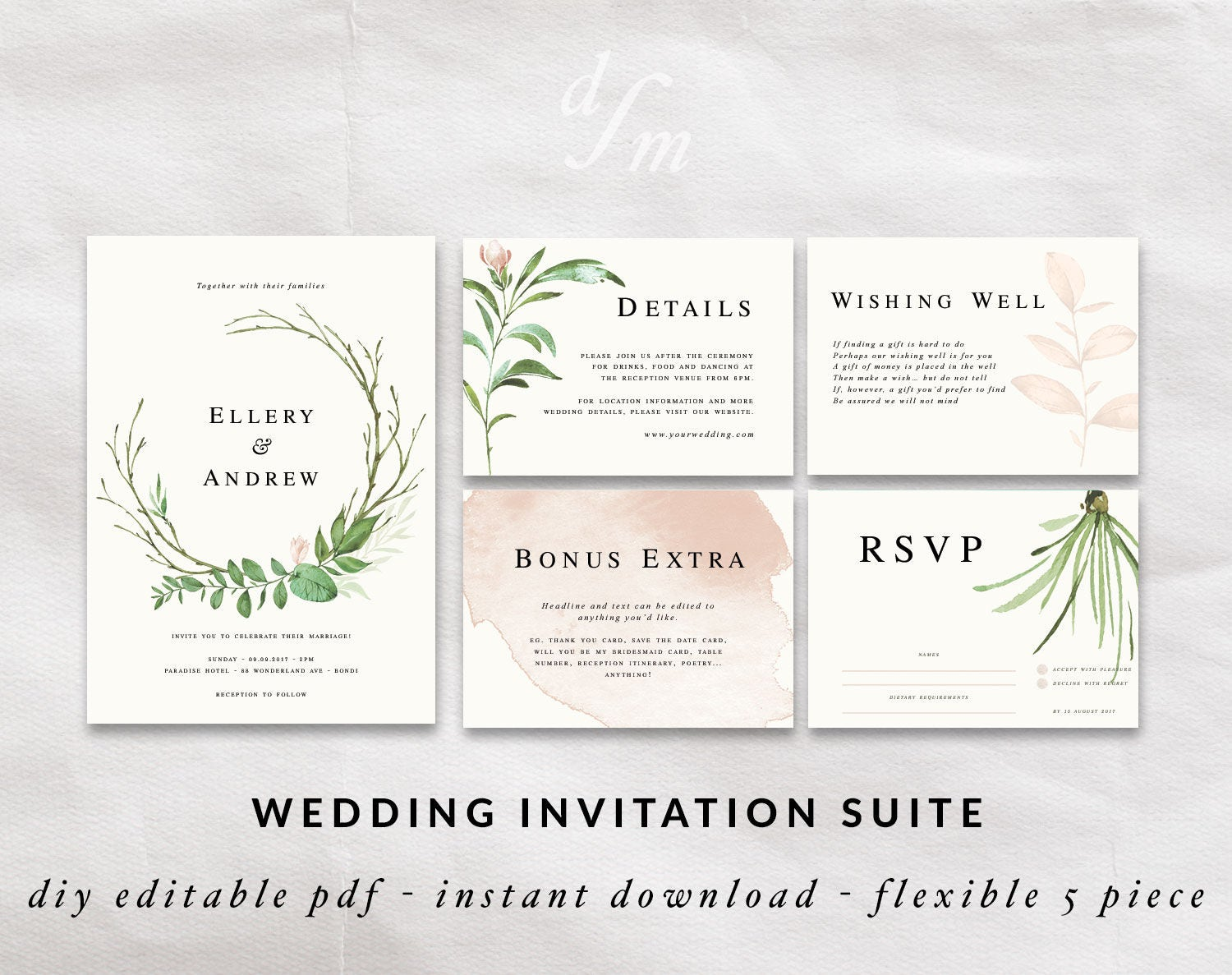 Diy Calligraphy For Wedding Invitations: Floral Wreath Invitation DIY Wedding Invitation Templates