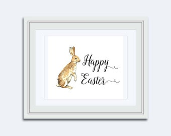 Easter bunny printable - Happy Easter printable - Easter wall art - rabbit Printable - childrens wall art - Easter Decor - kids printable