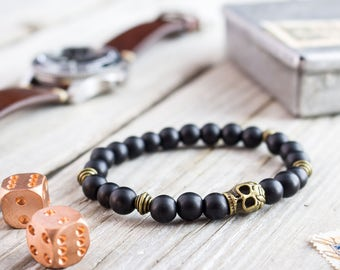 8mm - Matte black onyx beaded stretchy bracelet with bronze skull , custom bead bracelet, mens bracelet, gemstone bracelet, black bracelet