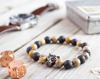 8mm - Black lava stone and brown jasper stone beaded gunmetal black Leopard head stretchy bracelet, mens bracelet, womens bracelet