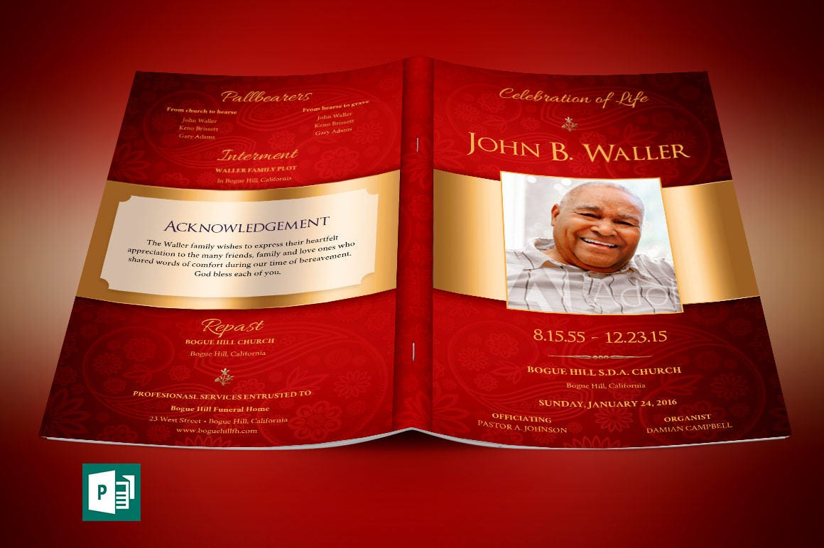 Red Gold Dignity Funeral Program Publisher Template From