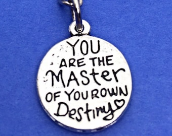 Motivational keychain, quote charm, motivational quote keychain, inspirational accessories, you are the master, quote keychain gift,motivate