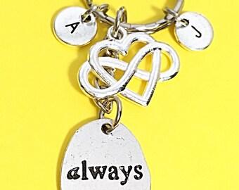 Always keychain, always infinity keychain, infinity charm, always word pendant, friendship accessories, best friend,birthday gift for friend