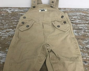 Authentic Eddie Bauer Baby Overall Size 12M Jean Khaki Vintage Overall