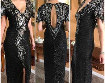 Stunning Vintage Silk Sequined Black Dress Prom Dress Evening Dress Hand Made Bridesmaid Dress Homecoming Dress