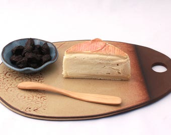 Ceramic Cheese Board. Cheese tray, cheese platter, pottery, serving tray, serving platter, dish, platter, rustic, appetizer, gift, handmade.
