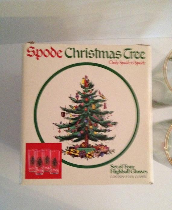 Spode Christmas Tree Set Of Four 4 12 Oz Highball Glasses