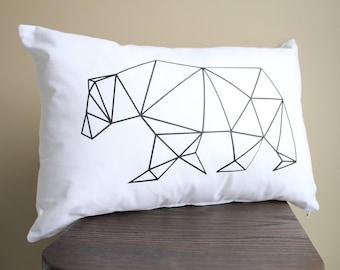 Geo Bear Pillow - bear pillow, black bear pillow, geometric bear pillow, nursery pillow, kids decor pillow, bear toss pillow