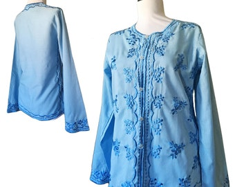 Vintage Embroidered Blue Tunic Top