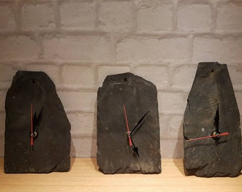 Slate wall clock, recycled slate clock, reclaimed slate clock, upcycled roof slate, rustic slate clock, small slate clock