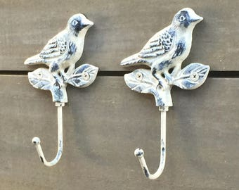 Shabby Chic Bird Hooks, Garden Farmhouse Distressed Painted Cast Iron Wall Hooks