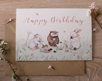 Happy Birthday : joyful spring inspired tea party greeting card, Mouse, Owl, Bunny. Designed and illustrated by Nina Stajner