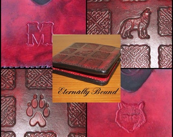 Mens Leather Wallet,Front & Back Design,Celtic,Howling Wolf,Wolf Print,Card Pockets,Note Pocket,Personalisation,Handstiched,Choice of colour