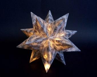 SMALL Origami Star, illuminated Star, Christmas Decoration, Wedding Table Decor, LED Star, Sheet Music Paper, Wedding Table Centerpiece