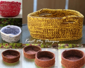 Crochet 2-Yarn Side Table Baskets for Home Storage - Knot My Designs