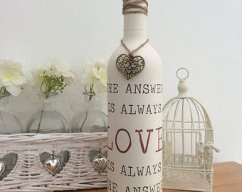 Love is the Answer - Bottle / Candle holder with Heart Charm