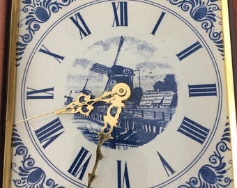 Vintage Delft Blue Tile Clock Hand Made In Holland